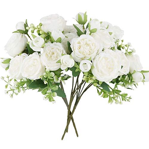 VINFUTUR 3 Ramos de Peonías Artificiales Decorativas Flores Artificiales Peonías Falsas...