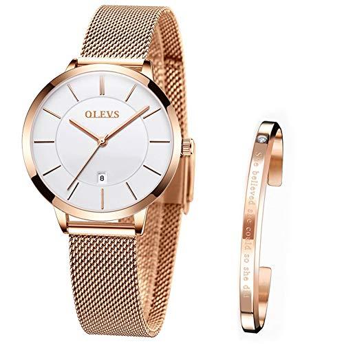 Verhux Reloj de Mujer Acero Inoxidable Impermeable Analogico Cuarzo Reloj Regalo...