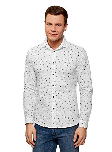 oodji Ultra Hombre Camisa Estampada de Algodón, Blanco, 38
