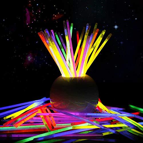 Pulseras luminosas 100 unidades, colores variados, pulseras fluorescentes, accesorios para...