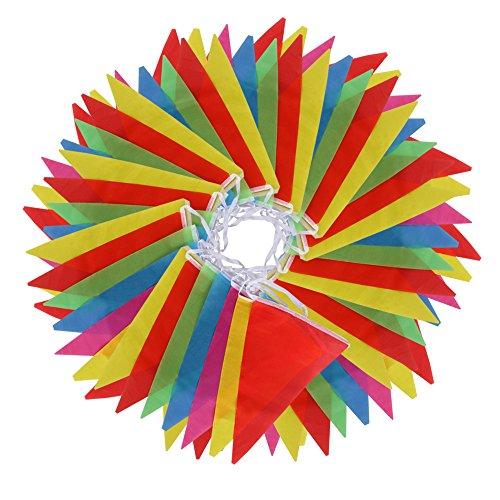 Vicloon Multicolor banderín 100 Banderas de Poliéster Bunting Bandera de Triángulo...