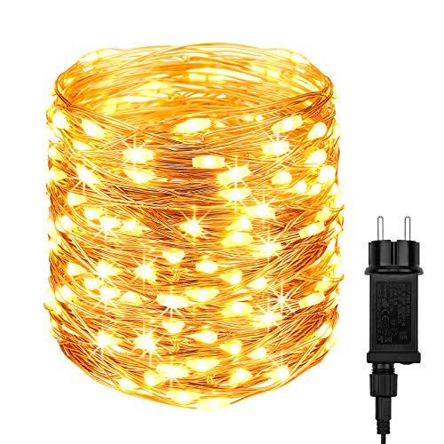 DeepDream Guirnalda de luces con enchufe,20M 200LED Alambre Cobre impermeable Navidad...