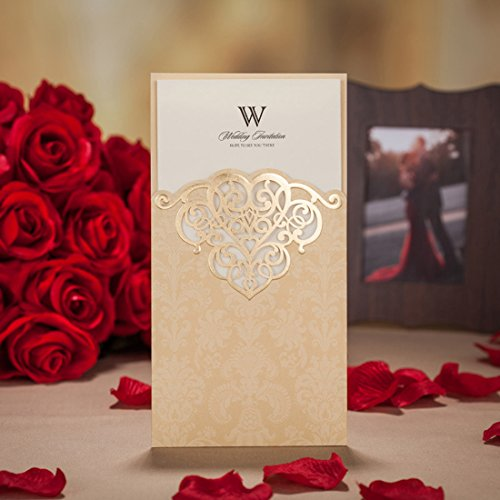 100P WISHMADE Gold Laser Cut Invitación con sobre, serigrafía y bronceado El diseño...