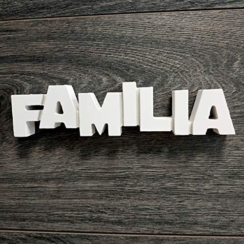 MDF Familia 18 x 4.5cm. Adorno de Madera con la Palabra Familia para Decorar tu hogar...