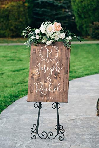 Yilooom Cartel de madera de bienvenida de boda, diseño de corona, letrero vertical,...