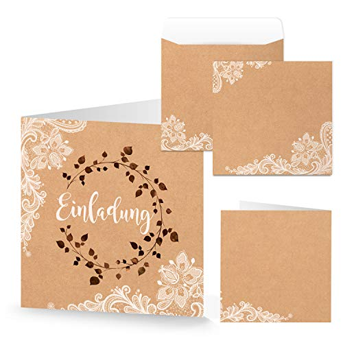 Logbuch-Verlag 10 tarjetas de invitación + sobres cuadrados, papel de estraza marrón,...