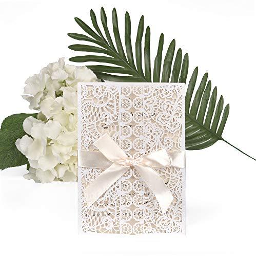 ewtshop® Juego de 20 tarjetas de invitación de boda, elegantes tarjetas de...
