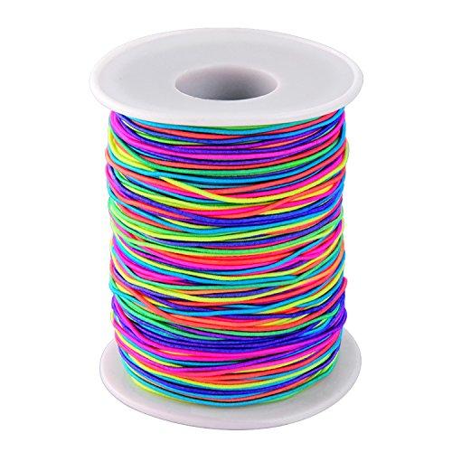Sumind Cuerda Elástica Hilo de Abalorios Cuerda de Manualidades de Tela, 1 mm (Arco Iris,...