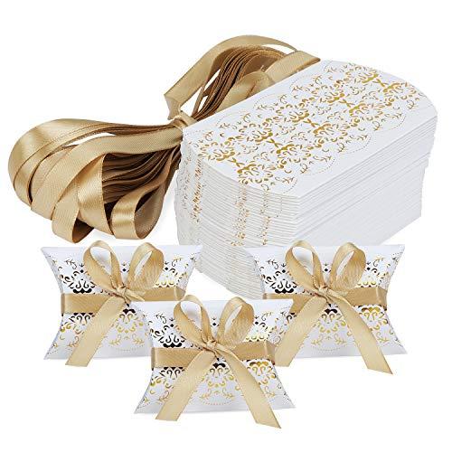 Hseamall Cajas de recuerdos de boda, caja de regalo para fiestas, caja de caramelos, 50...