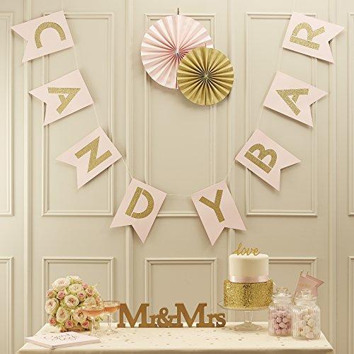 Ginger Ray Banderines de boda con purpurina, color rosa y dorado, para decoración de...