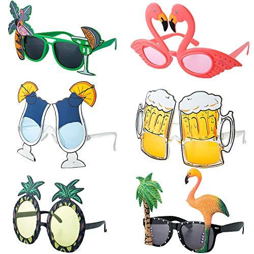 Czemo 6 Pares Gafas de Sol de Fiesta Hawaianas Tropicales Gafas en Forma de Piña Flamenco...