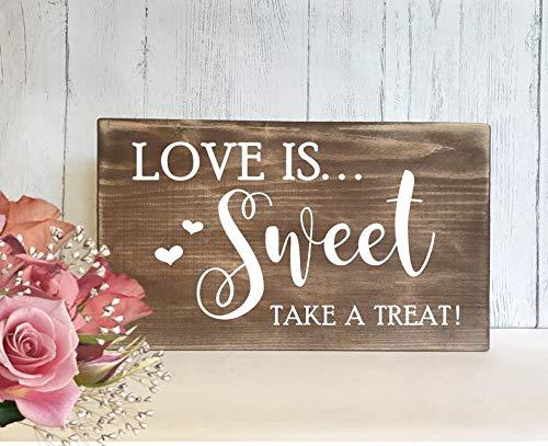Cartel de boda rústico – Personalizado Sweet Table – Candy Bar – Carro de caramelos...