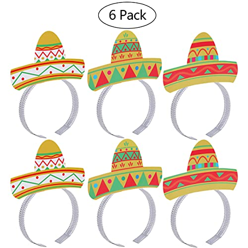 LUOEM Sombrero Headbands 6PCS Cinco De Mayo Fiesta Party Colorful Sombrero Headbands...