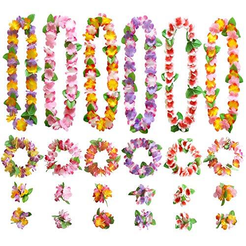 GWHOLE Juego de Guirnaldas Flores Hawaianas Decoración de Colores, 12 Collares 12...