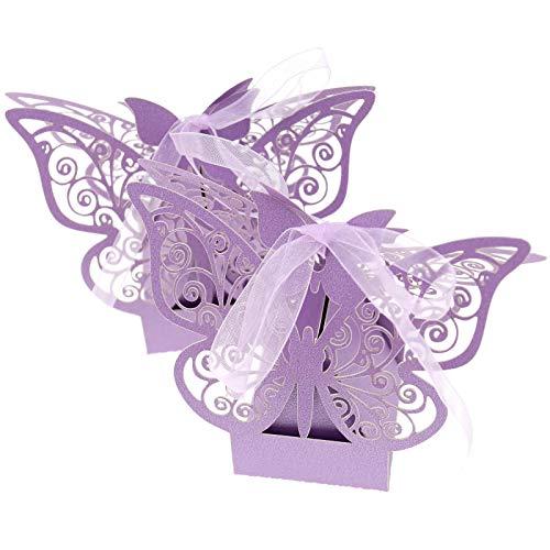 BIYM 50 Unidades de bomboneras con diseño de Flores púrpuras para Bodas, cumpleaños,...