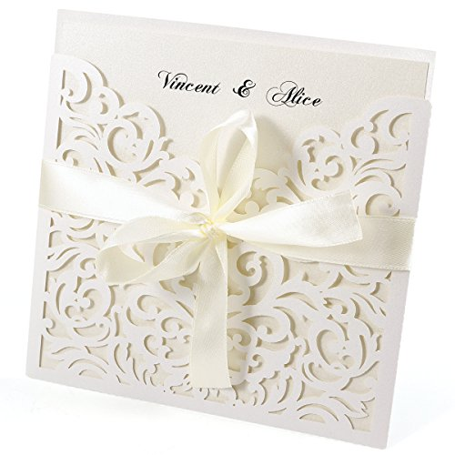 20Tarjetas de invitación Ivory blanco elegante diseño de encaje con tarjetas, sobres,...