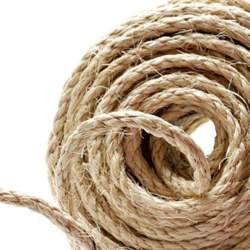 Naler Cuerda de cáñamo 25 m 6 mm, 100% Yute Natural, 4 Capas de Cuerda Gruesa para...