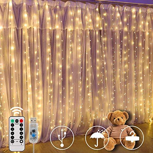 Cortina de Luces,SUNNOW 300 LED 3M * 3M 8 Modos Cadena de Luces con Remoto,Alimentadas por...