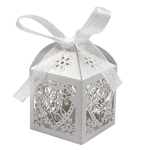 XCSSKG Paquete de 50 cajas de regalo de boda, con corte láser, para bodas, fiestas,...