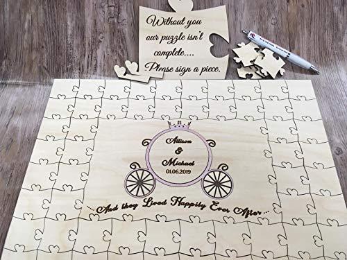 FSSS Ltd Rompecabezas de madera personalizable para bodas, con diseño de Cenicienta de...