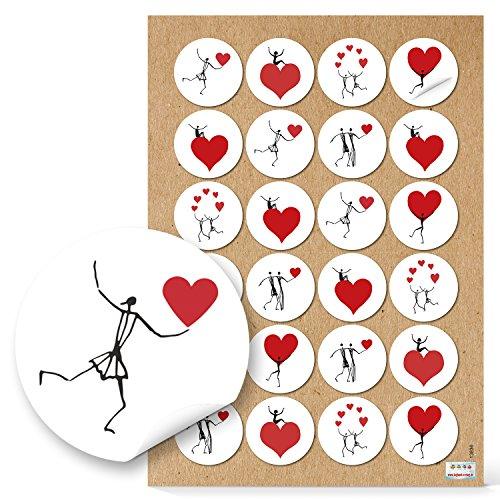 Herzmensch - 48 pegatinas de hombres con corazones, redondas, de 4 cm, en negro, rojo y...