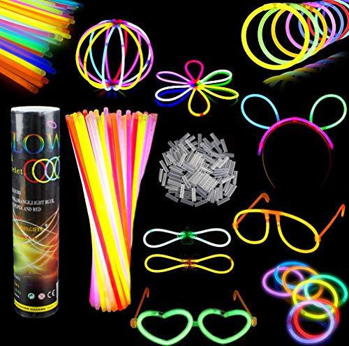 SIMUER Barras Luminosas, Pack de 100 Pulseras Fluorescentes Glow Pack Multicolor, Glow...