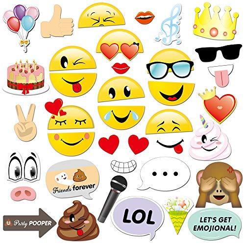 Konsait Emoji Photo Booth Props (38pcs), cumpleaños Cabina de Fotos Accesorios photocall...