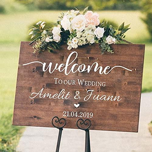 Cartel de bienvenida de boda pegatina de compromiso / celebración Mural vinilo...