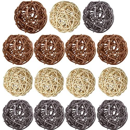 Bolas de mimbre de ratán, 15 piezas decorativas de varios colores, rellenos de jarrón de...