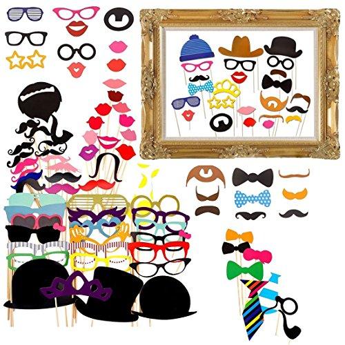 GUDOTRA 73pcs Photobooth Accesorios para Bigotes Labios Corbatas Gafas Sombreros para...