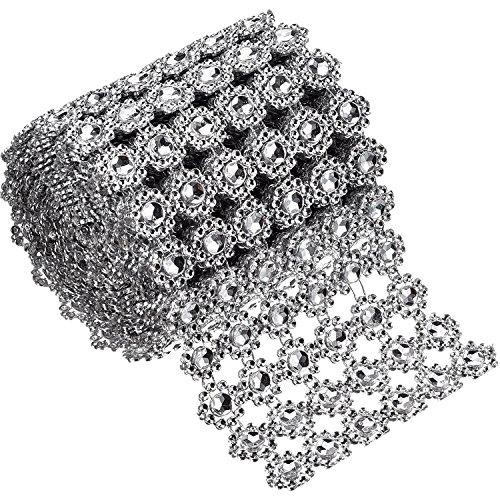 6 Filas de Diamantes de Flor Plateados Rollo de Malla de Diamantes de Imitación Cinta de...
