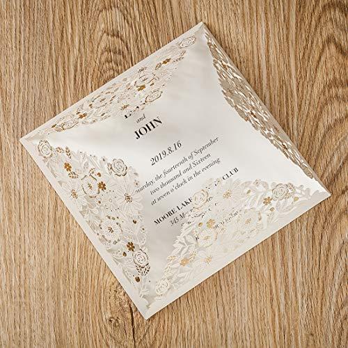 1Pcs WISHMADE White Square Laser Cut Invitaciones de boda Kit de tarjeta, para bodas Ducha...