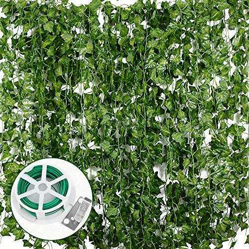 JNCH Planta Hiedra Artificial (24pcs*2m) Decoración, Hojas de Vid, Guirnalda Hiedra...