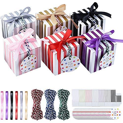 Pajaver 48 Pcs Cajas de regalo pequeñas, cajas de dulces cuadradas para dulces con cinta,...