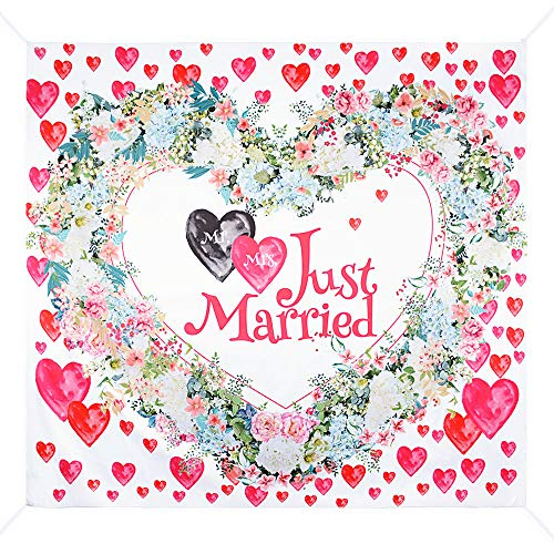 Fondo Photocall Bodas 2 x 1,8m Tapiz Pared Grande Just Married Photo Booth Props Tela...