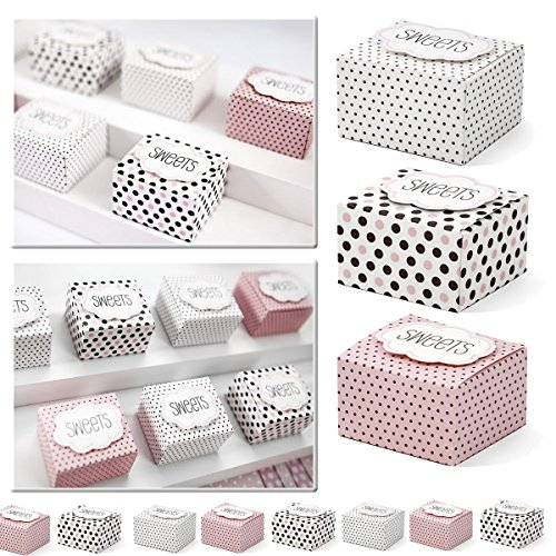30x cajas de regalo multicolor con texto–Sweets – como regalo para invitados o...