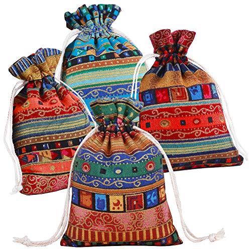 Pinowu Estilo étnico Bolsa de Regalo con cordón 13x18cm (12 Piezas), Algodón...