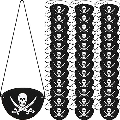 Parche de Ojo de Pirata de Fieltro Negro Parche de Un Ojo de Capitán de Cráneo para...