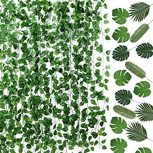 Auihiay 93 pies 12 hebras guirnalda de hiedra artificial y 24 piezas de hojas de palma...