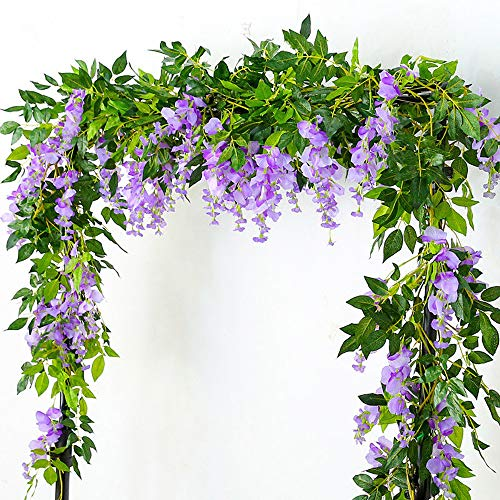 Lanyifang 4pcs Flores Artificiales de Seda Wisteria Garland Artificial Wisteria Vine Flor...