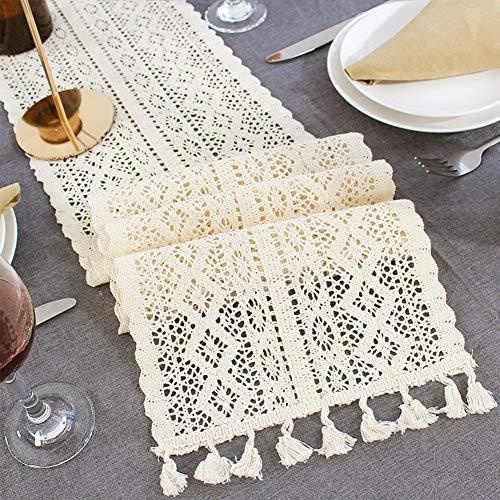 Dyda6 Camino de mesa de macramé, camino de mesa de encaje de ganchillo de algodón con...