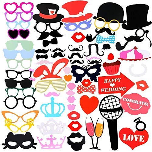 Gyvazla 75Pcs DIY Photo Booth Props Incluyendo Bigotes Gafas Pelo Arcos Sombreros labios...