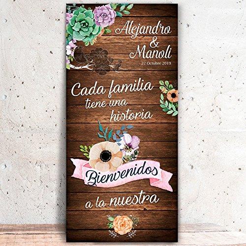 Decoración Boda   Cartel Boda Bienvenida Familia (Cartón)   70cm x 150cm