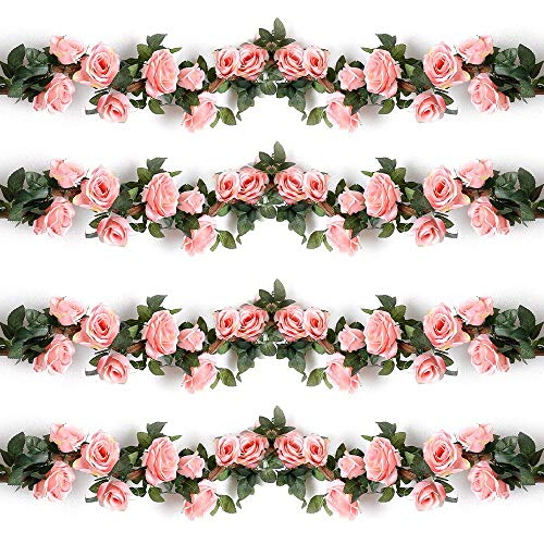 Ksnnrsng Guirnalda Rosas de Seda Artificiales Flores Vides Flores Falsas Colgando Plantas...