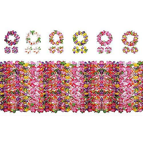 Yojoloin 24 Piezas Hawaianas Leis Luau Flores con 12 Pulseras 6 Diademas y 6 Collares para...