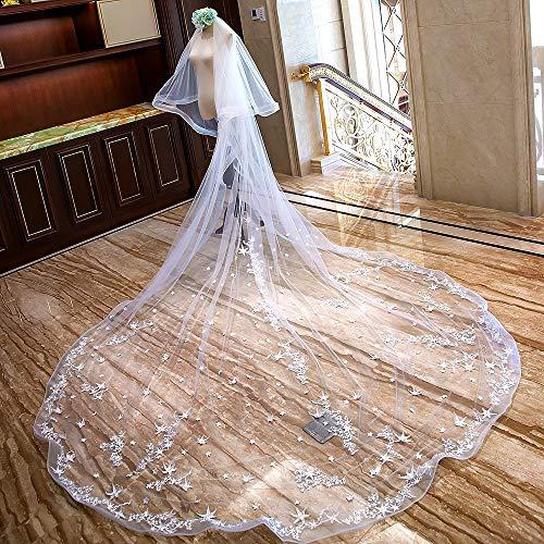 KYEEY Velo White Wedding Veil Lace Applique Edge 4M Velo Largo Nupcial Velo de Novia...