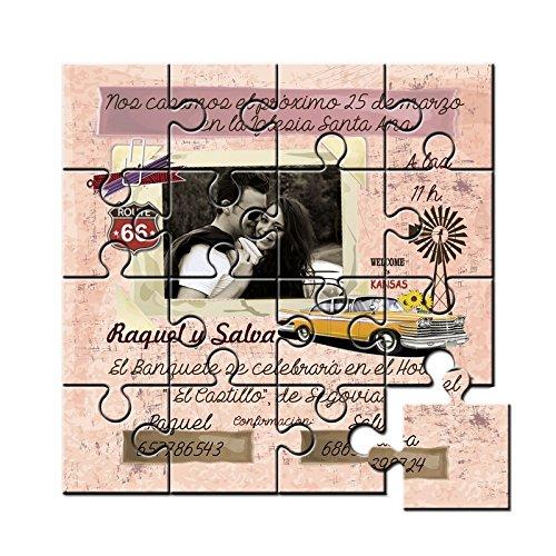 Invitación original para boda en puzzle en lata - Pack de 6 unidades