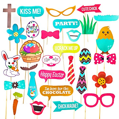 THE TWIDDLERS 60Pcs Foto Props de Pascua - DIY Photo Booth, Photocall Accesorios
