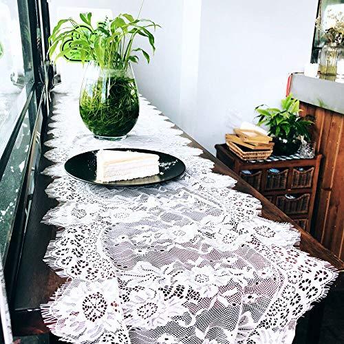 Gshy - Camino de mesa de encaje, color blanco, para boda, estilo vintage
