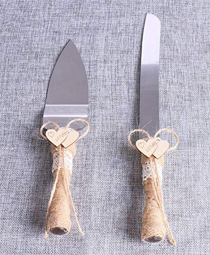 Meressie - Juego de 2 cuchillos rústico para tartas de boda y juego de servir con cordel...